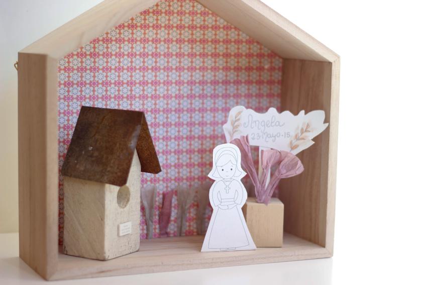 Estanterías en forma de casa DIY para la primera comunión
