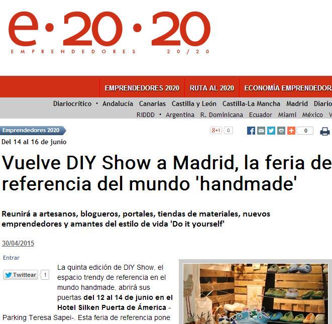 Diariocritico.com, Diario online, Sección: Emprendedores 2020 (30/04/2015)