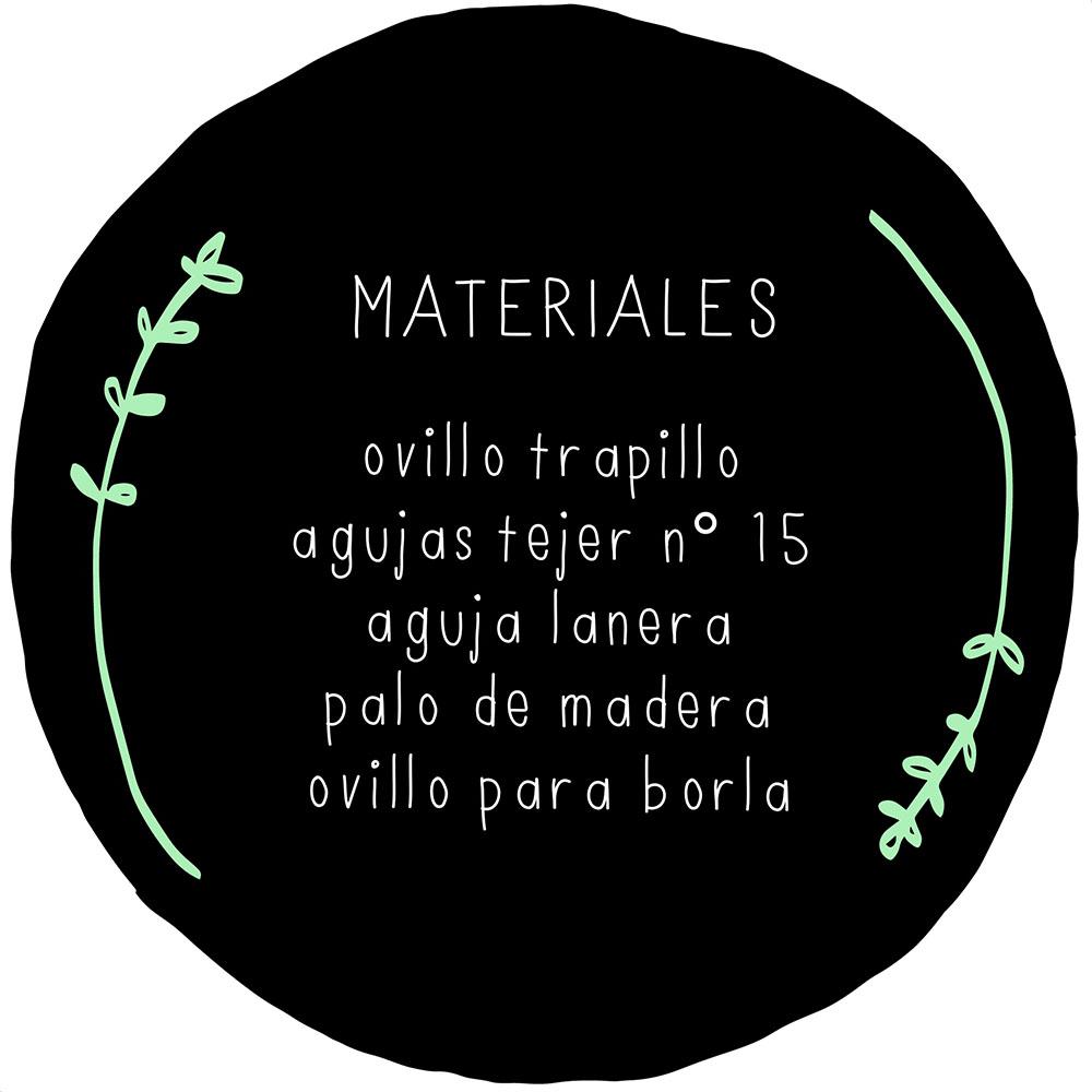 Materiales para hacer un bolsillo de trapillo a punto con dos agujas