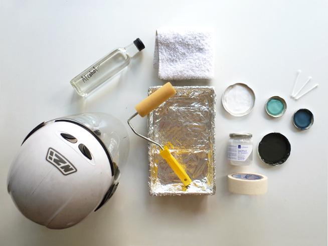 Materiales utilizados para customizar tu casco con Chalk Paint