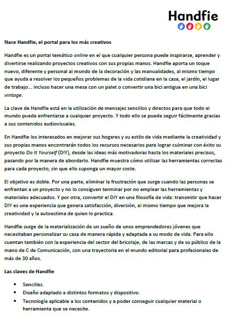 Nota prensa Handfie mayo 2015