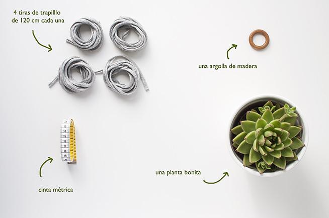 Materiales necesarios para el congante de trapillo de macetas