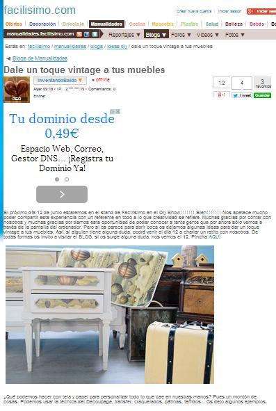 Facilisimo.com, Página web de manualidades, bricolaje, decoración... (02/06/2015)