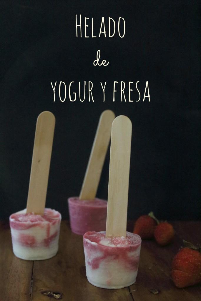 Helado de yogur y fresa