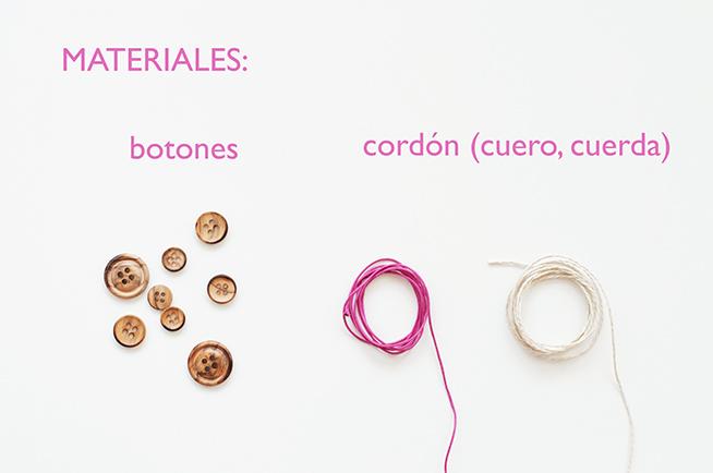 Materiales para hacer las pulseras-botón fáciles y veraniegas