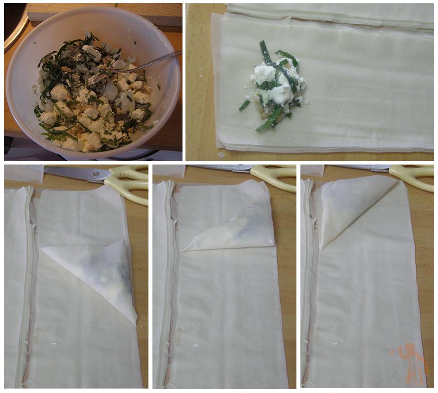 Paso a paso para los paquetes de pasta filo rellenos de feta, espinacas y piñones