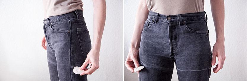 Nos probamos los pantalones y marcamos con un jaboncillo el largo de nuestro short