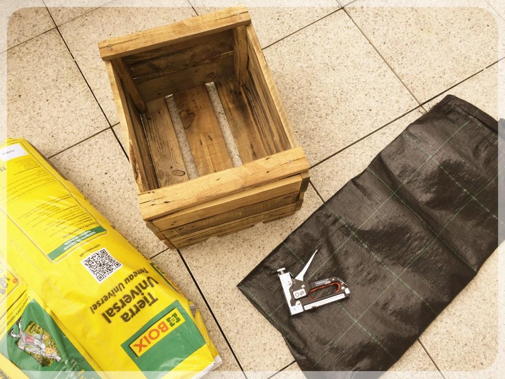 Materiales para jardinera con cajas de madera