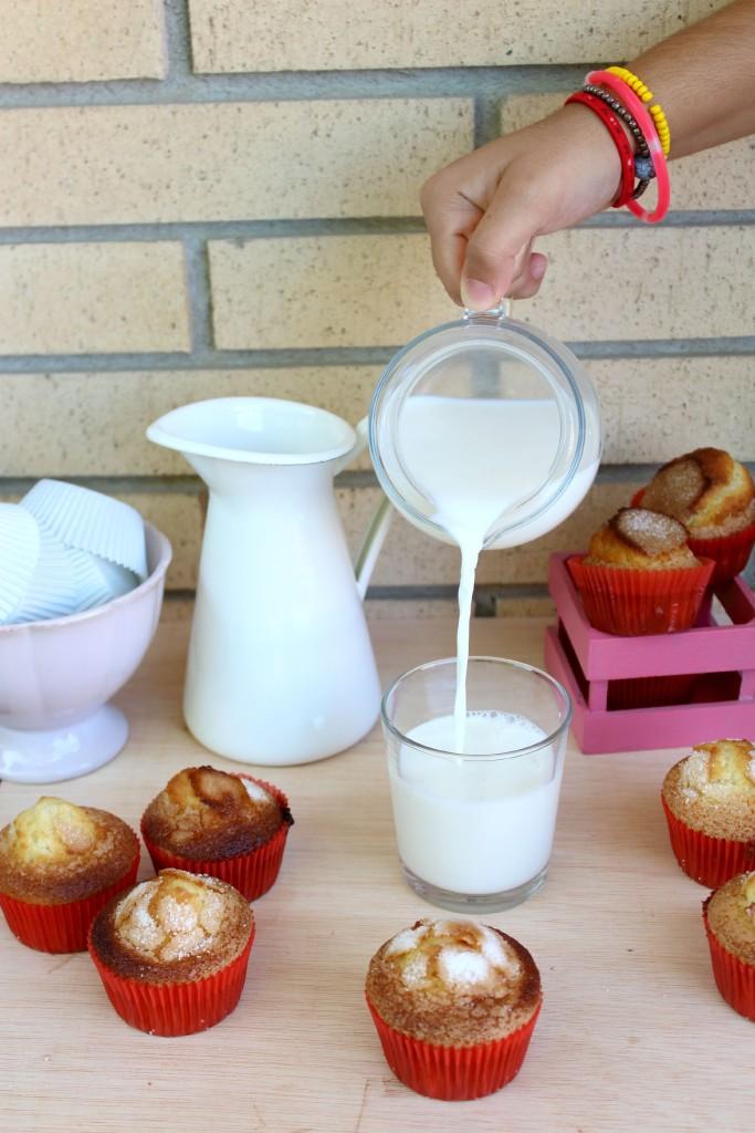 Magdalenas caseras acompañadas con un buen vaso de leche