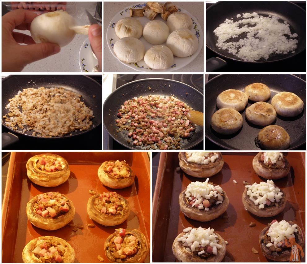 Cómo se preparan los champiñones rellenos de jamón serrano y queso manchego