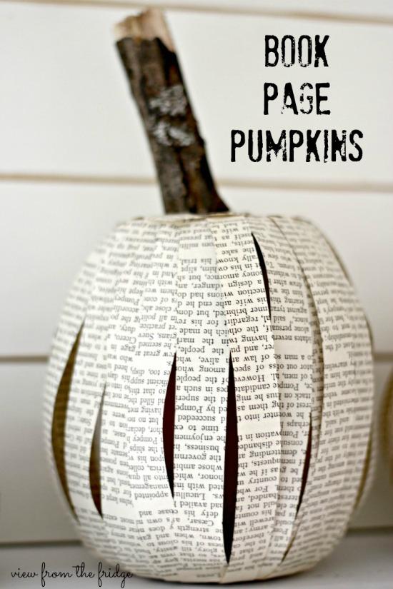 Decora Halloween con calabazas con papel de periódico