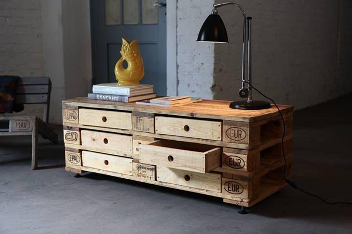 Mueble con cajones hecho con palets