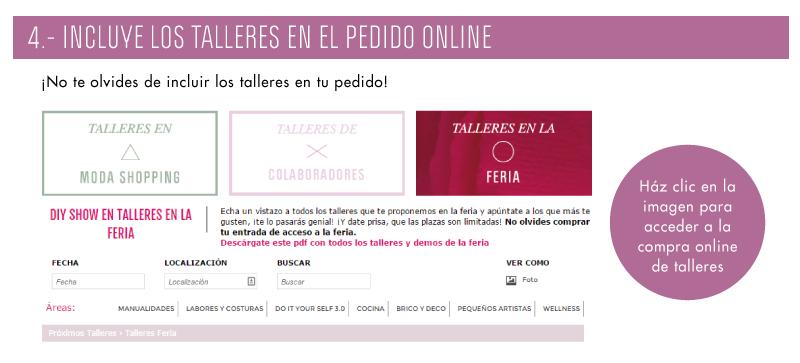 4.- INCLUYE LOS TALLERES EN EL PEDIDO ONLINE
