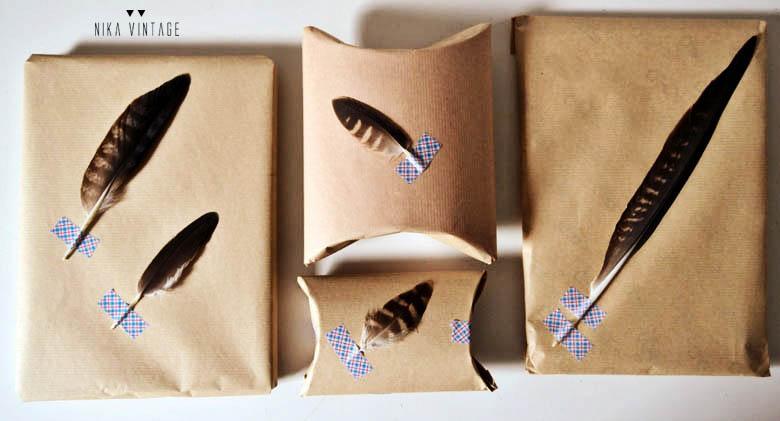 Empaquetado con plumas