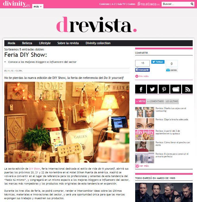 Divinity.es, revista lifestyle online (5/11/2015)