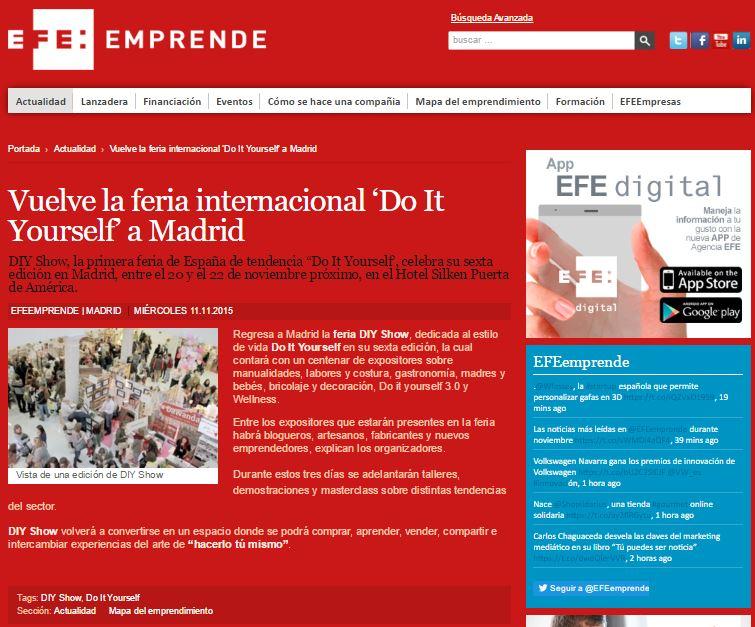 EFE Emprende, agencia de noticias (11/11/2015)