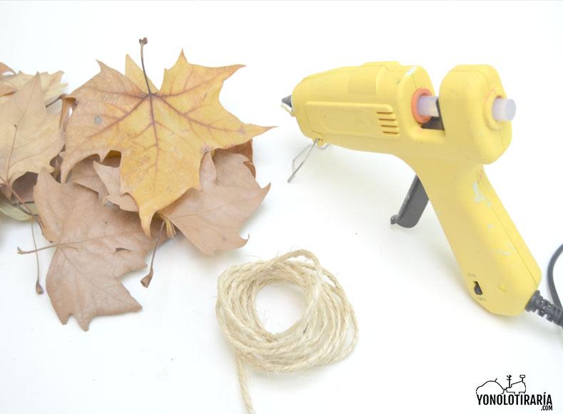 Materiales para hacer unas guirnalda con hojas