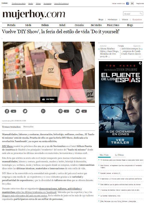 Mujerhoy, revista lifestyle online (3/11/2015)