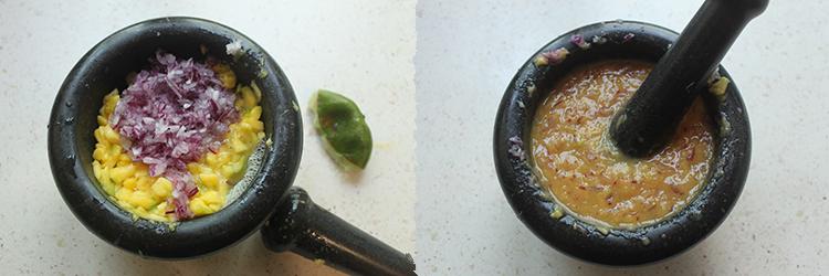 Preparación del relish de mango