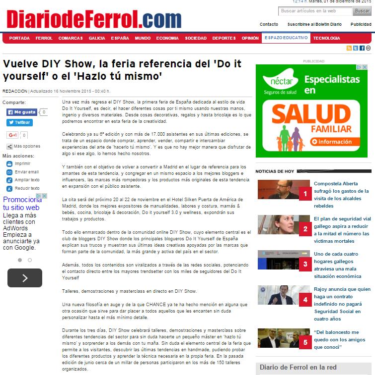 Diariodeferrol.com, diario online (16/11/2015)