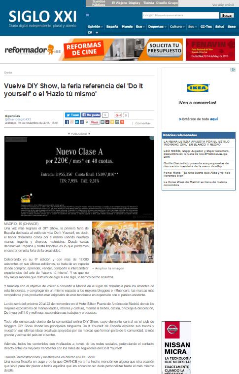 Diario siglo XXI, diario online (15/11/2015)