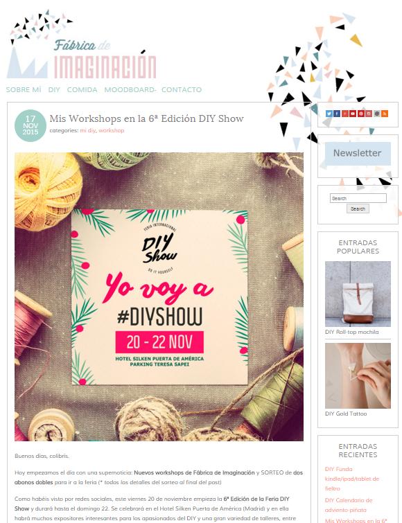 Fábrica de imaginación, blog DIY (17/11/2015)
