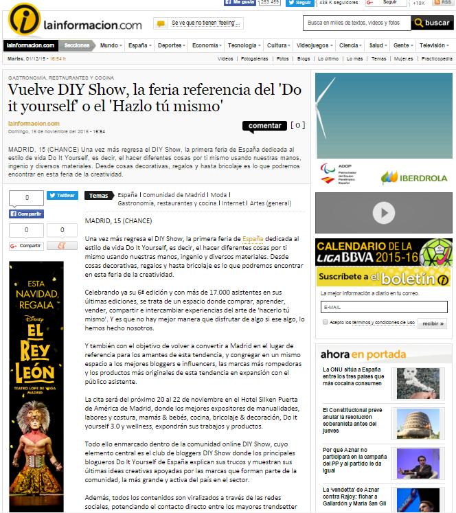 Lainformacion, diario online (15/11/2015)