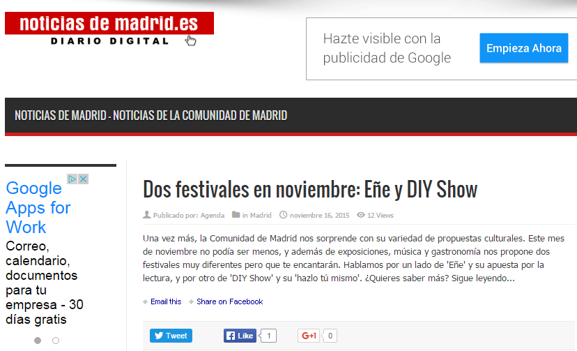 Noticiasdemadrid.es, diario online (16/11/2015)