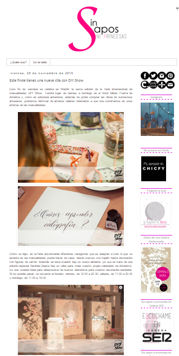 Sin sapos ni princesas, blog DIY (20/11/2015)