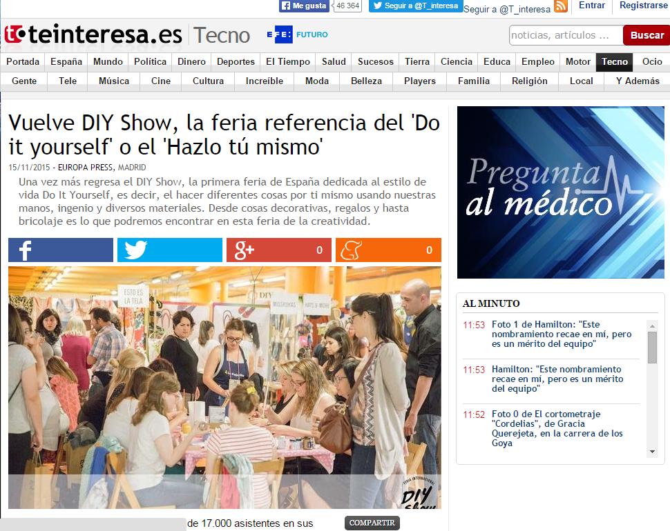 Teinteresa.es, diario online (15/11/2015)