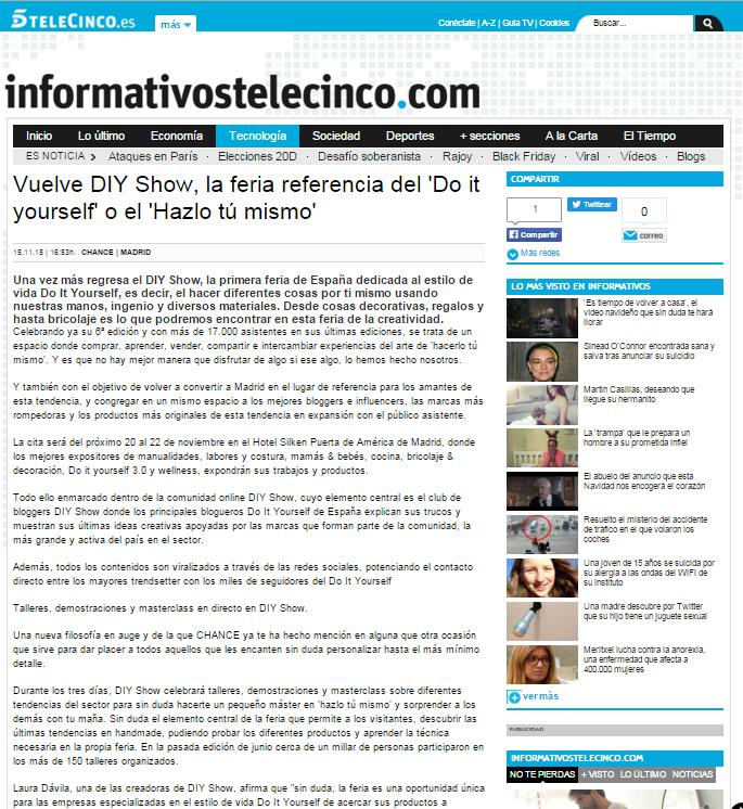Telecinco.es, diario online (15/11/2015)
