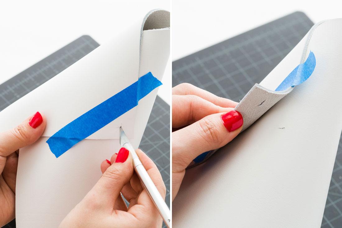 hacer una pequeña marca con el cutter