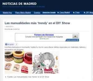 Noticias de Madrid publica en su web el evento DIY Show