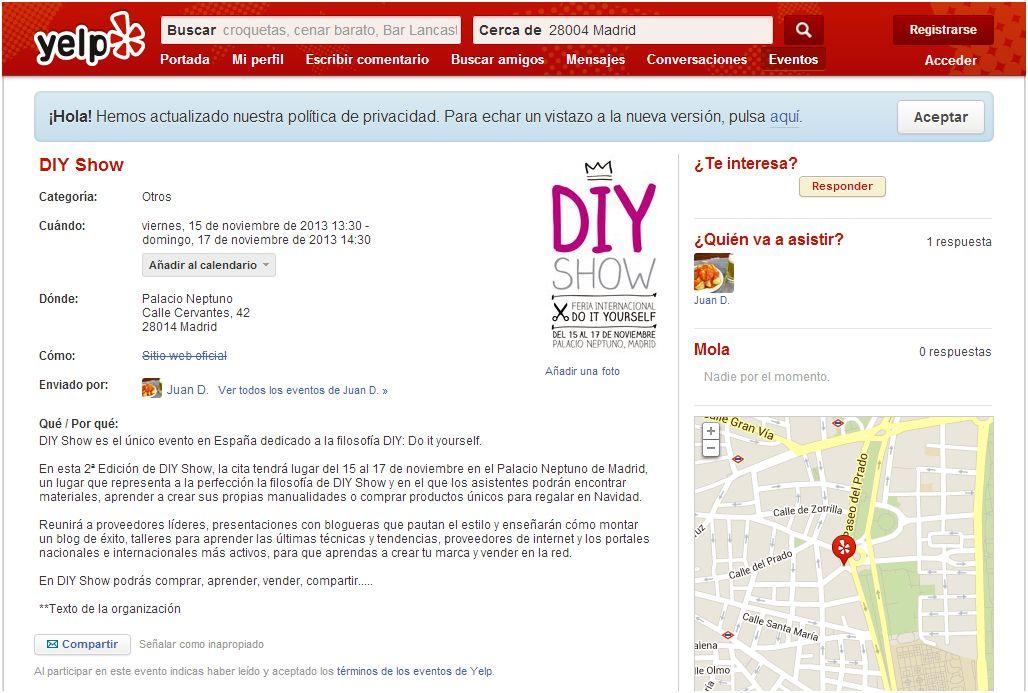 Yelp.es, eventos en Madrid 27/09/13