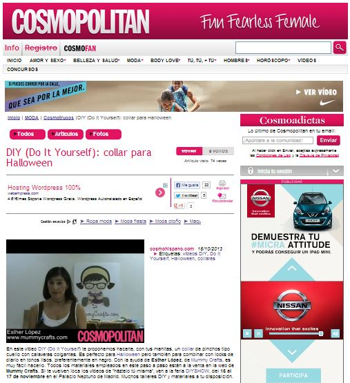 Cosmopolitan, revista sobre moda, lifestyle y belleza 15-10-13