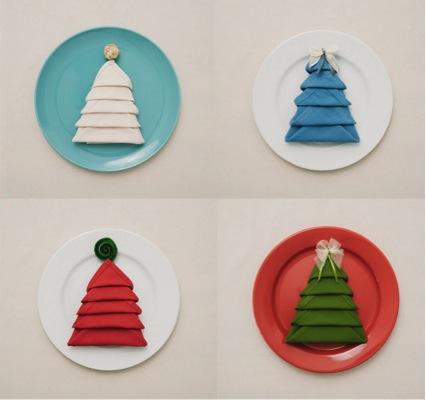 árboles de Navidad con servilletas