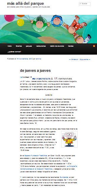 Más allá del parque, blog sobre actividades con niños (14-11-13)