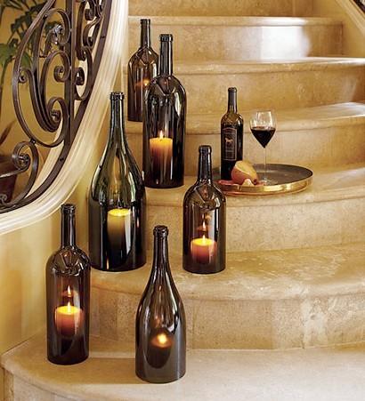 Reciclaje de botellas con velas para decoración