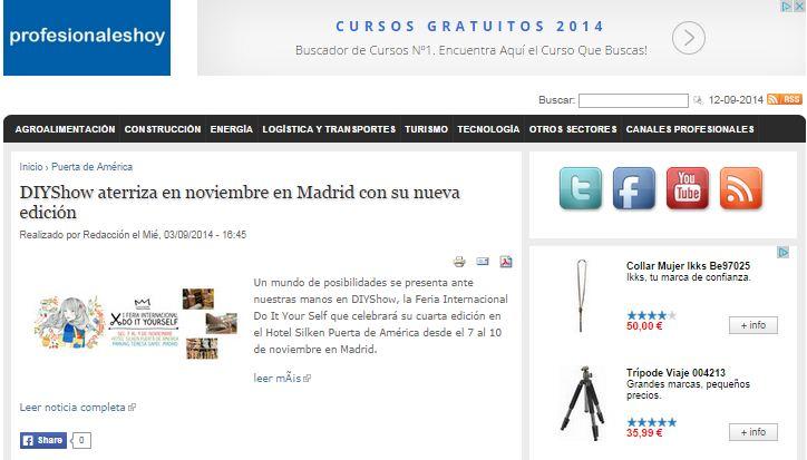 Profesionales hoy, web para empresas y profesionales  (03/09/2014)