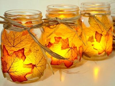 Velas adornadas con hojas