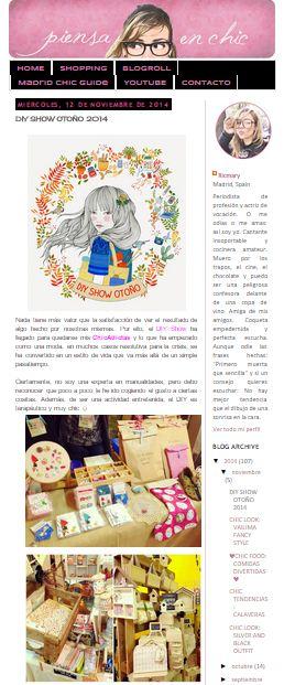 Piensa en Chic, blog  (12/11/2014)